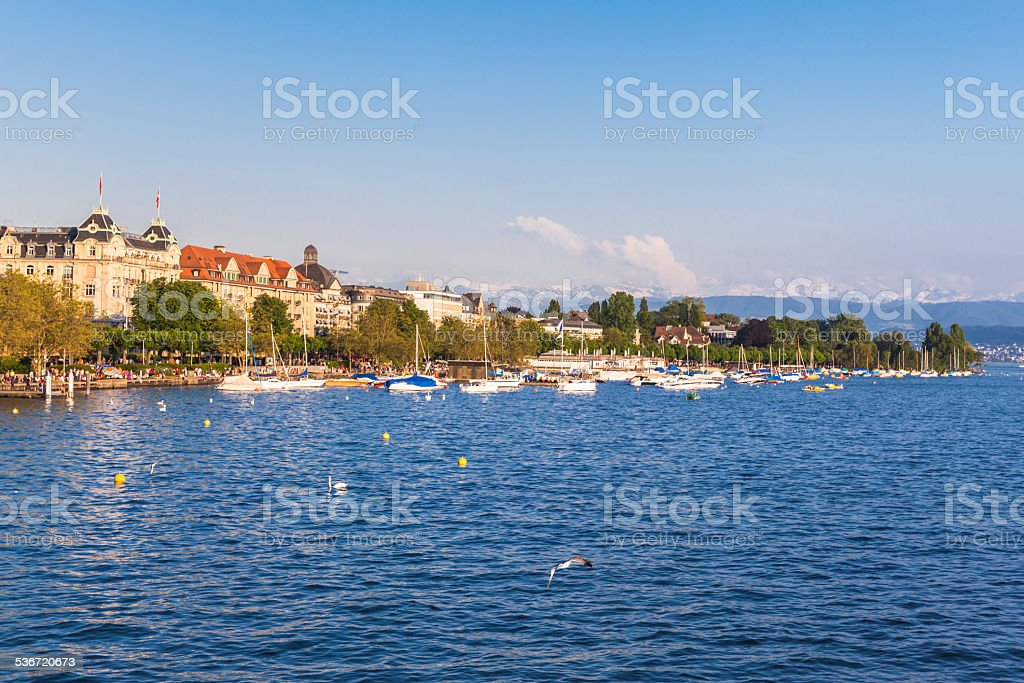View of Zurich old Town, the lake and the alps stock photo