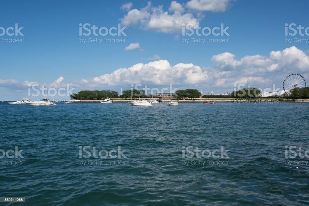 View off Navy Pier, Chicago, Illinois stock photo