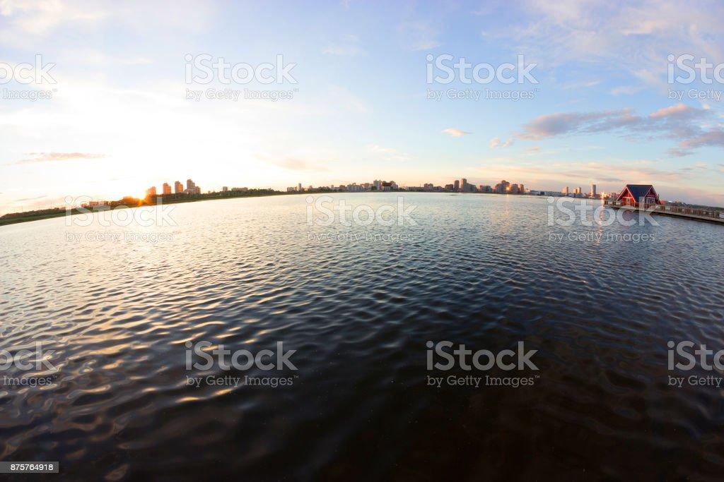 view on a beautiful lake stock photo