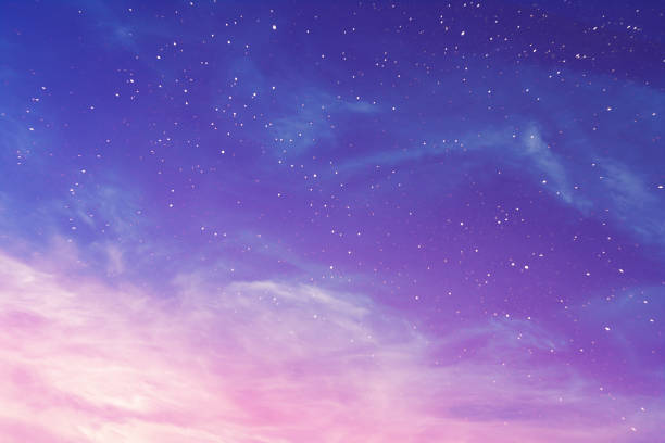 view on a evening purple sky with cirrus clouds and stars (background, abstract) - twilight stock pictures, royalty-free photos & images