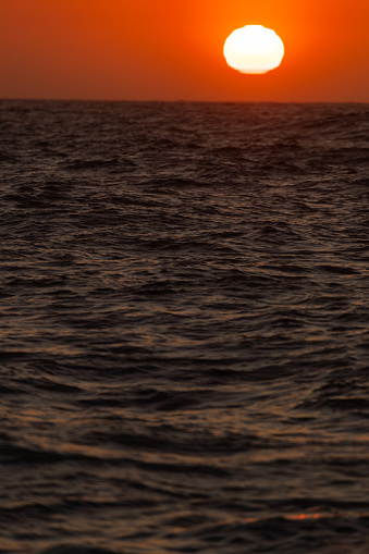 View on a placid sea, sunset at open ocean from a boat