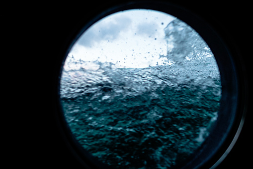 View on a rough sea, with waves of the open ocean from a boat