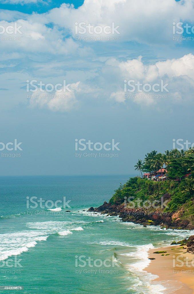View on a Varkala tropical beach, India Kerala stock photo