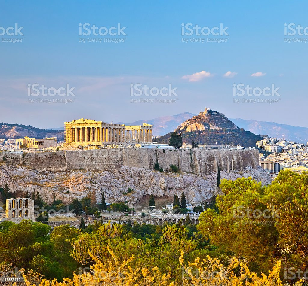 View on Acropolis in Athens stock photo