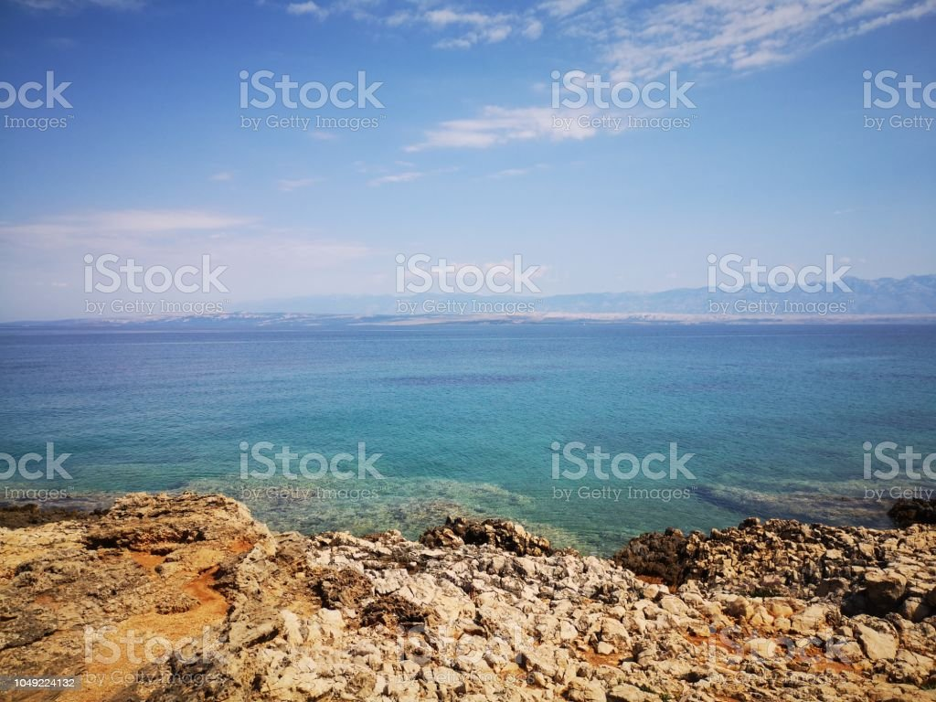 View on Adriatic Sea from Vir island in Croatia. stock photo