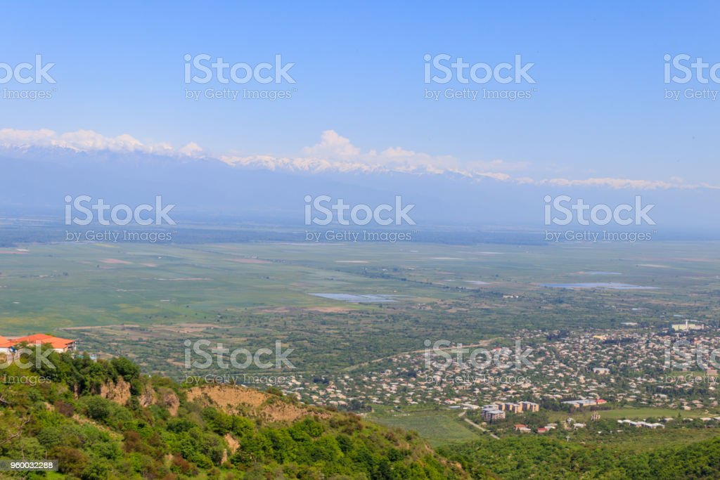 View on Alazani valley and Caucasus mountains from Sighnaghi, Kakheti, Georgia stock photo