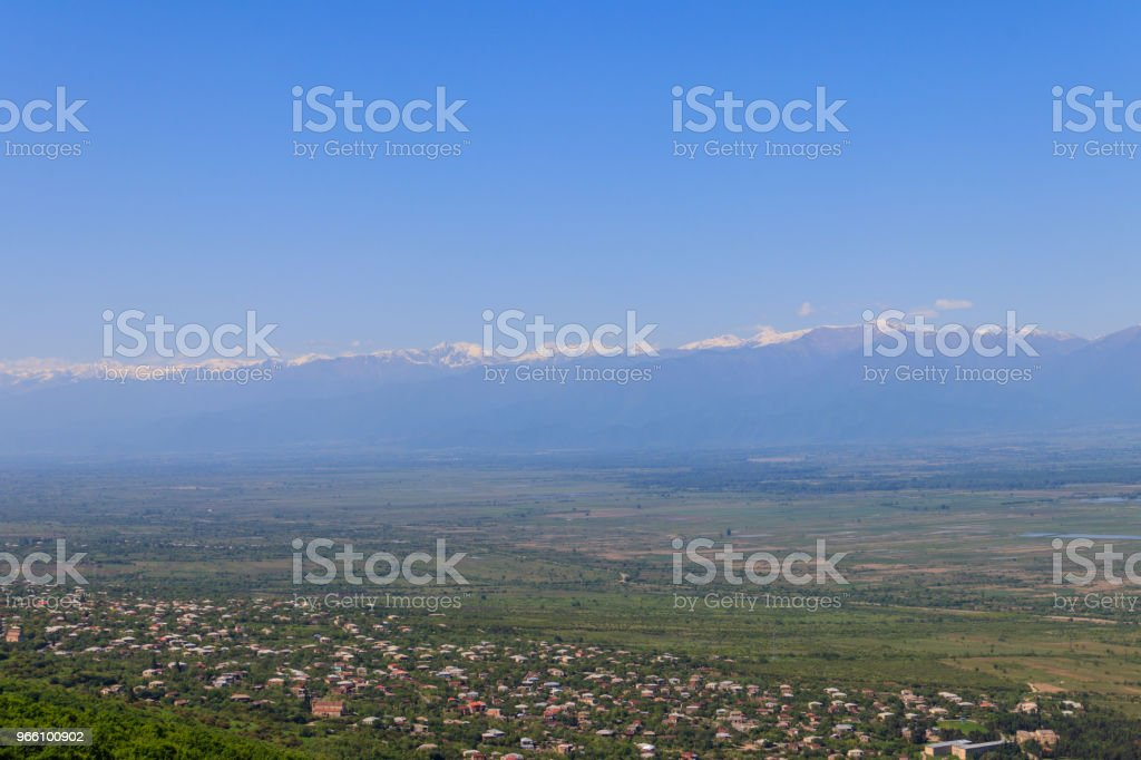 View on Alazani valley and Caucasus mountains from Sighnaghi, Kakheti, Georgia - Royalty-free Architecture Stock Photo
