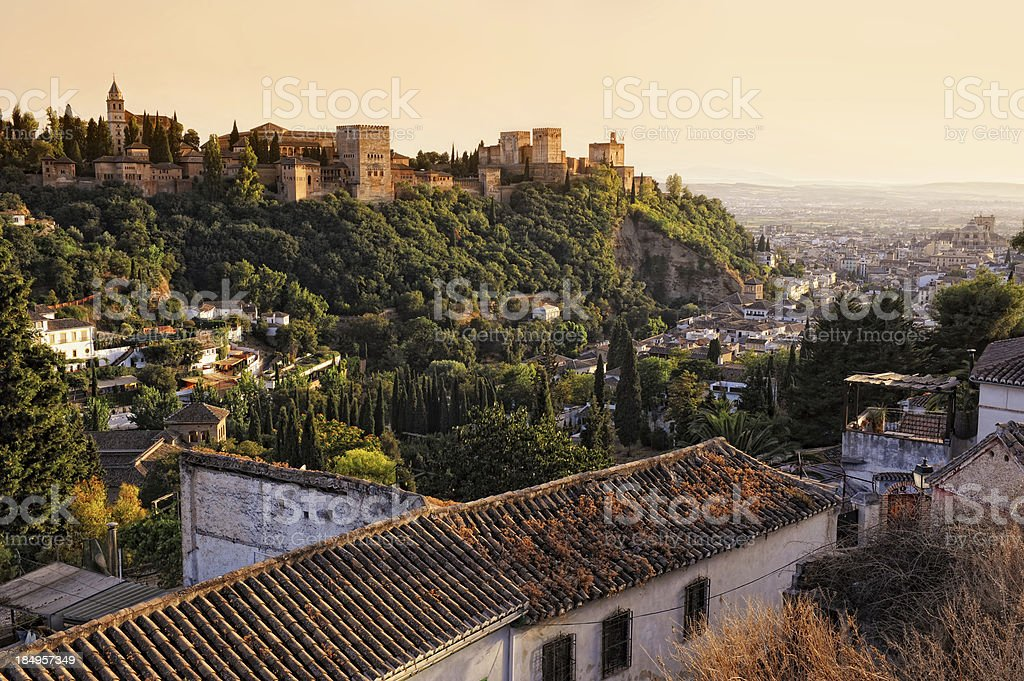 View on Alhambra at sunset stock photo