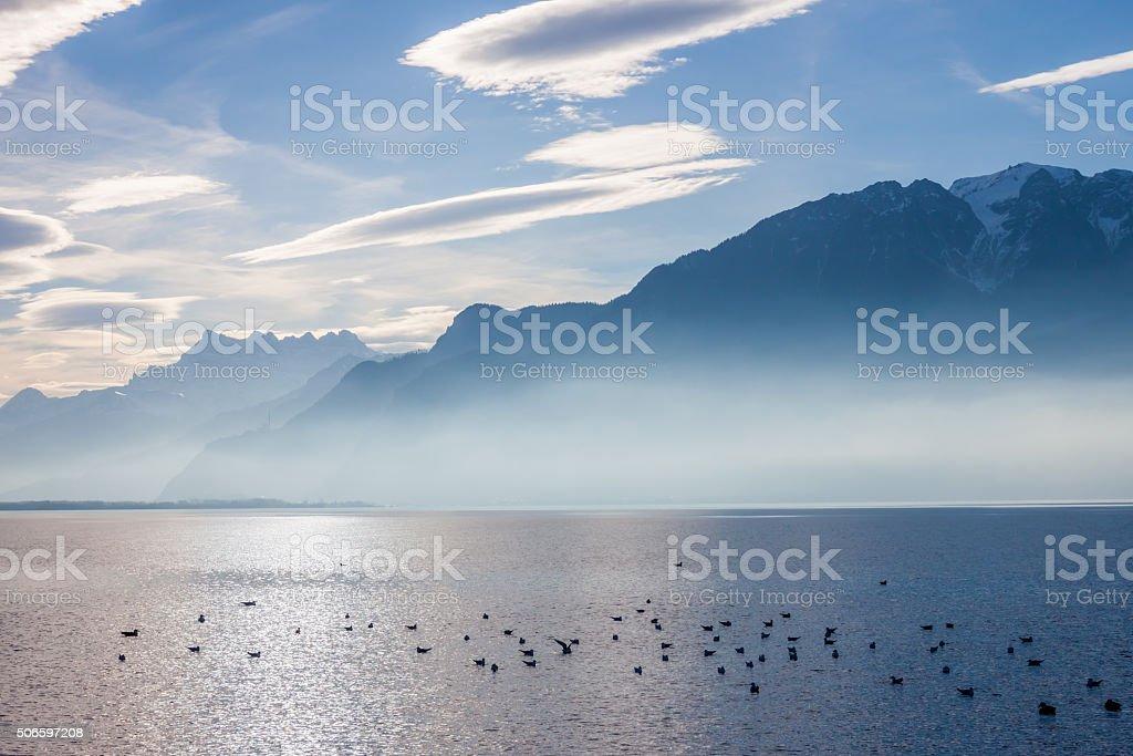 View on Alps and Geneva lake stock photo
