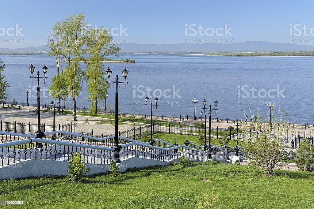 Blick auf die Amur-Fluss in Chabarowsk, Russland – Foto