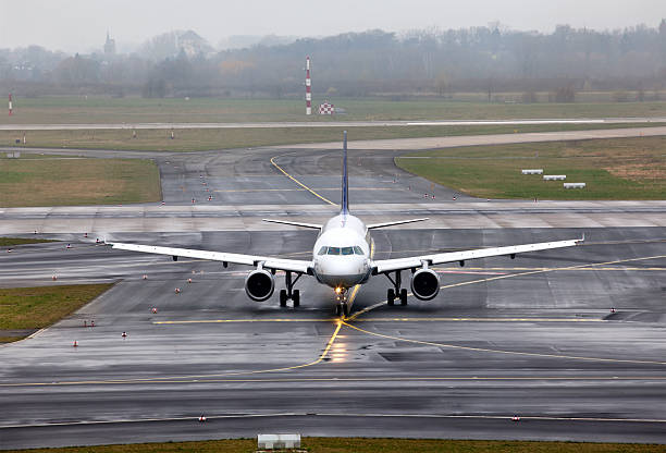 view on an aircraft which preparing to take off stock photo