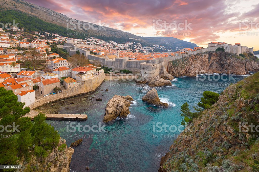 View on ancient castle in Dubrovnik. Croatia. stock photo