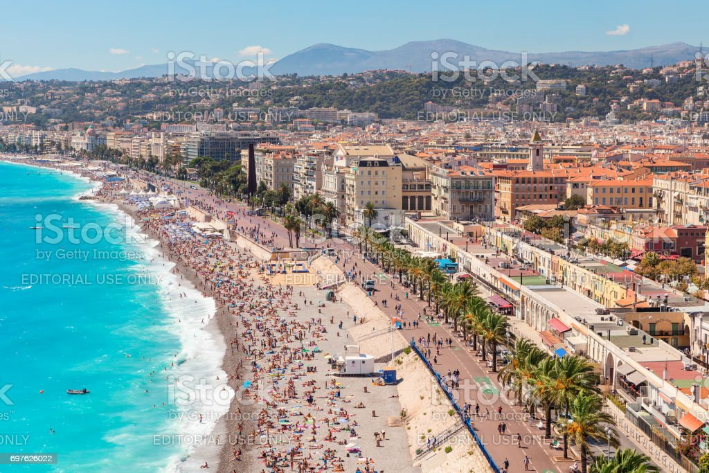 View on Anglais promenade and city of Nice, France. stock photo