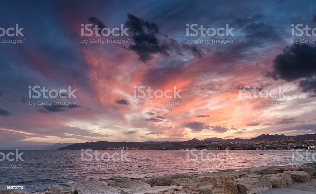 View on Aqaba gulf and  Eilat at dawn, Israel stock photo