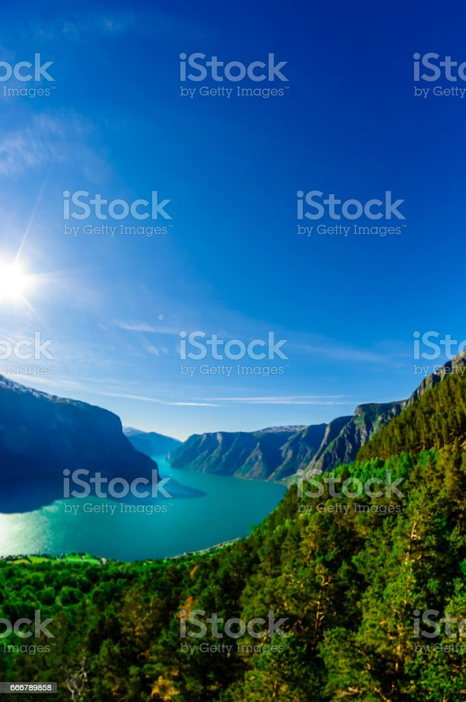 View on Aurlandsfjord - Naeroyfjord landscape in Norway stock photo