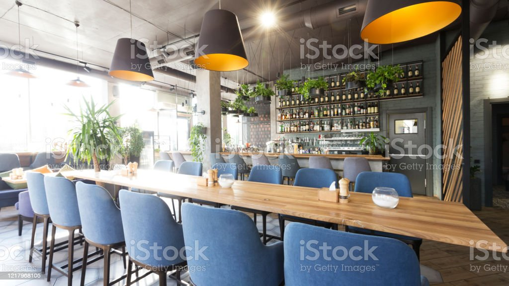 View On Bar Counter From Tables In Modern Cafe Stock Photo Download Image Now Istock