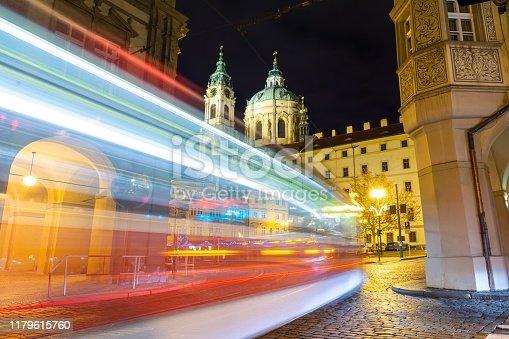 beautiful city of Prague by night in Czech republic