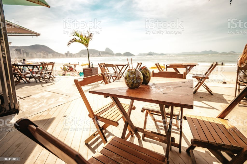 view on beach bar with coconut at copacabana in Rio