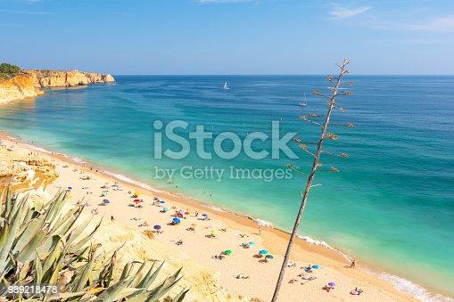 sandy beach on Algarve coast in south Portugal
