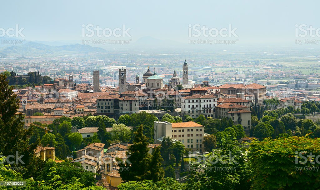 View on Bergamo stock photo