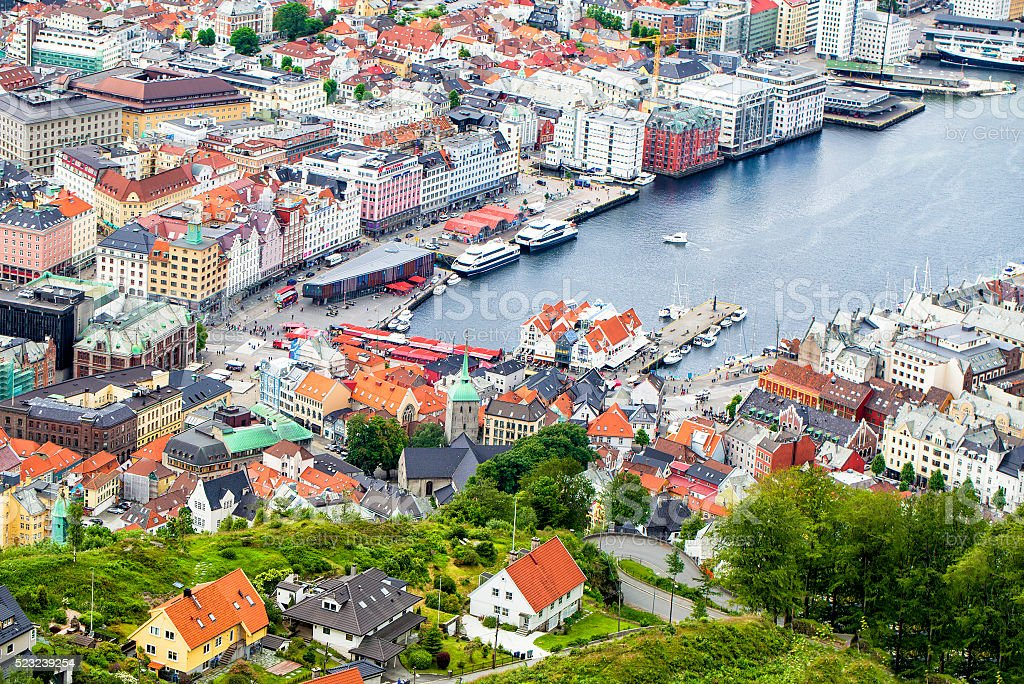 View on Bergen and harbor from the mountain Floyen top stock photo