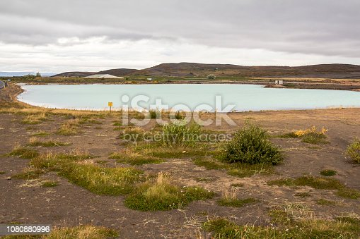 View on blue lake in myvatn area in iceland