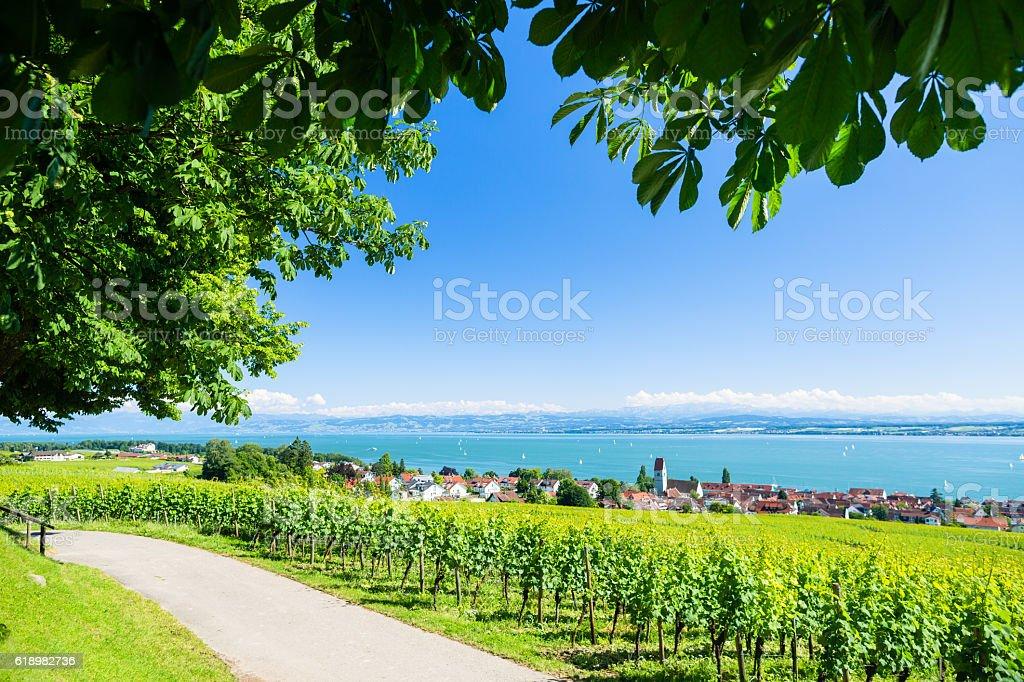 Blick am Bodensee und Alpen Berge im Hintergrund – Foto