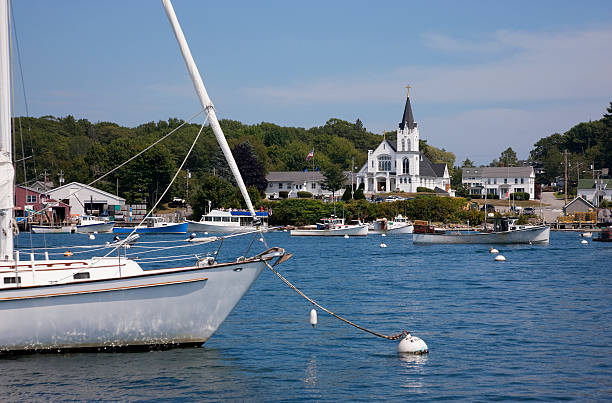 View on Boothbay Harbor, Maine waterfront stock photo