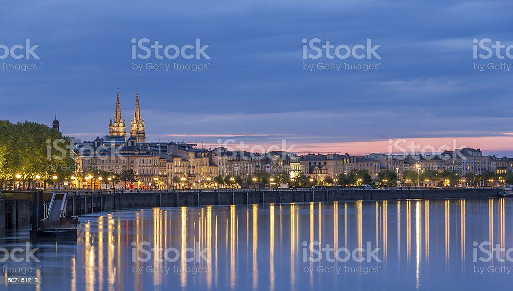 View on Bordeaux in the evening - France stock photo