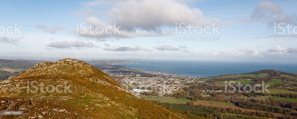 View on Bray from Little Sugarloaf stock photo