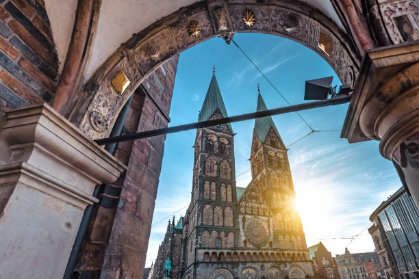 view on  Bremen Cathedral in the morning sun stock photo