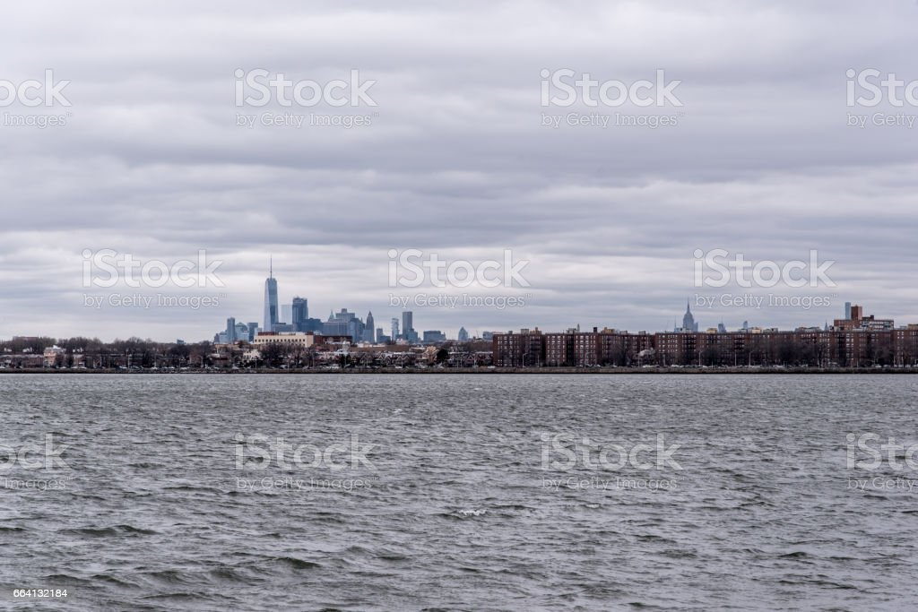 View on Brooklyn and Manhattan from Coney Island foto stock royalty-free