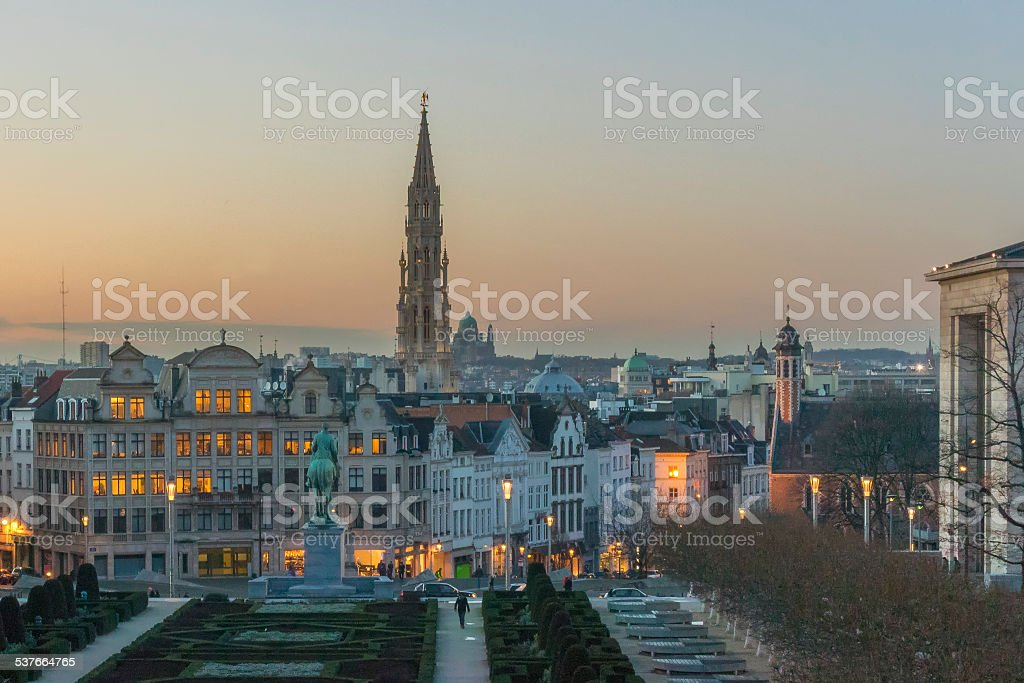 View on Brussels in the evening stock photo