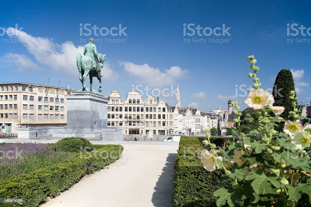 View on Brussels skyline and royal statue stock photo