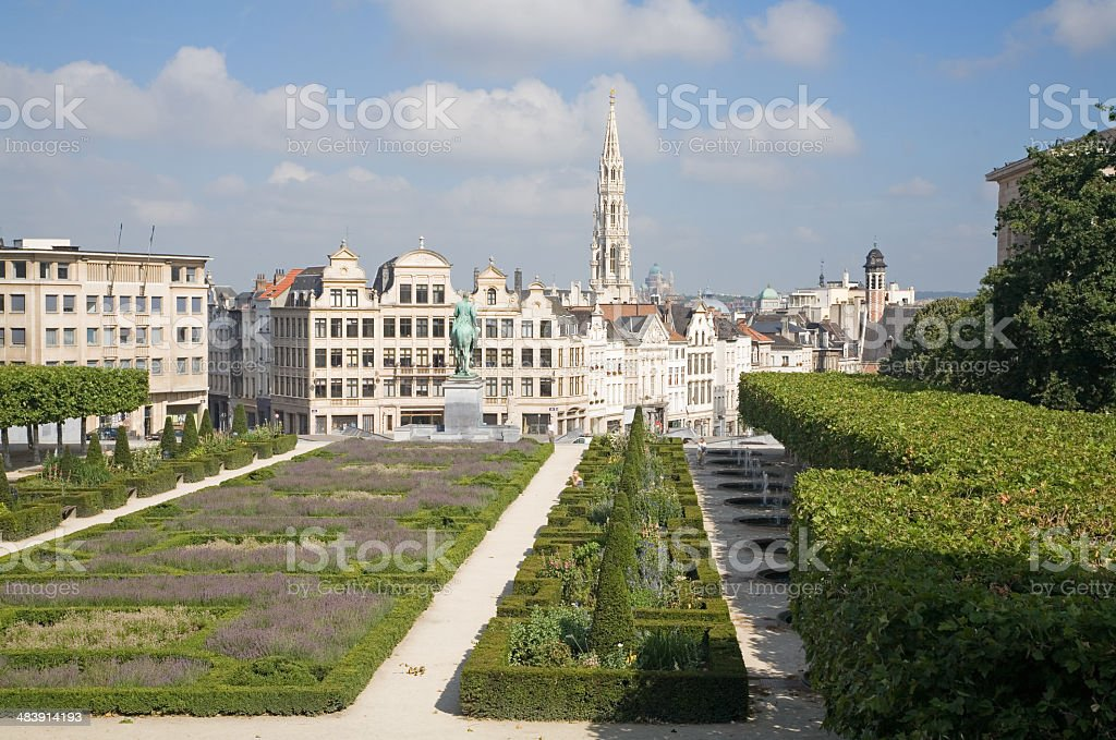 View on Brussels skyline from Arts park stock photo