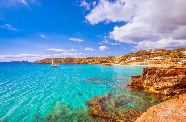 View on Cala Tarida (Ibiza) stock photo