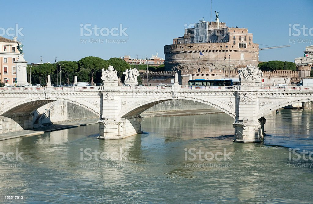 view on castle and Bridge of St Angel royalty-free stock photo
