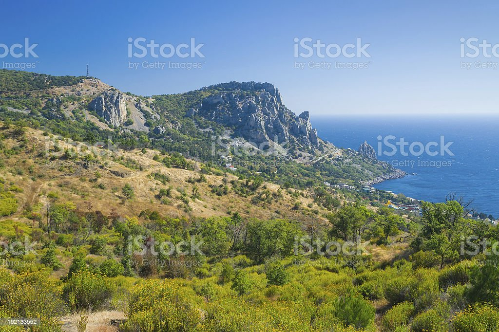 View on Cat Mountain and Blue Bay, Black Sea shore royalty-free stock photo