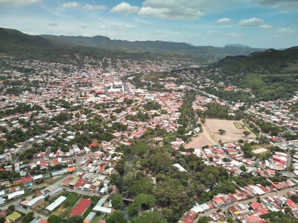 View on center of matagalpa city stock photo