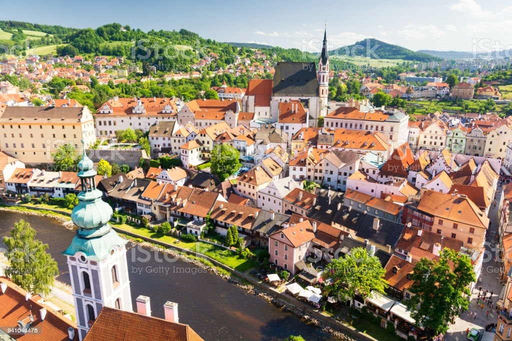 view on Cesky Krumlov town in Czech Republic stock photo