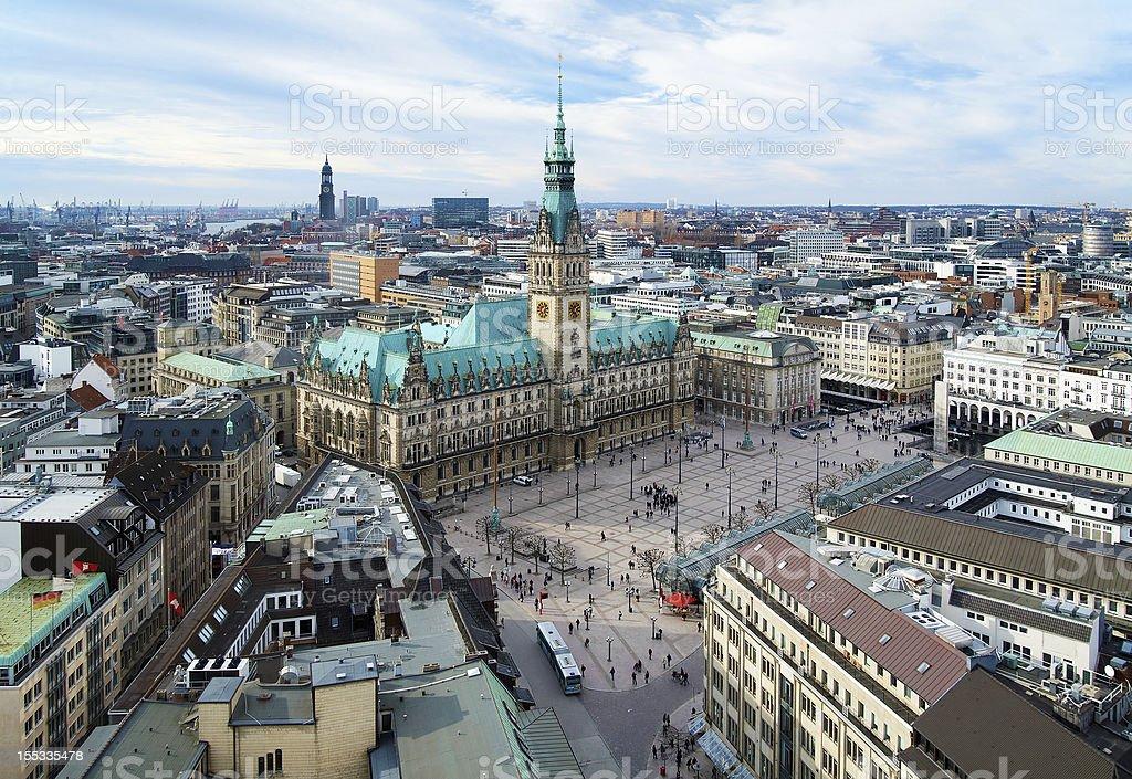 View on City Hall of Hamburg, Germany royalty-free stock photo