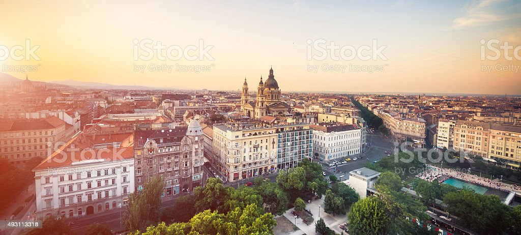 view on city park in Budapest stock photo