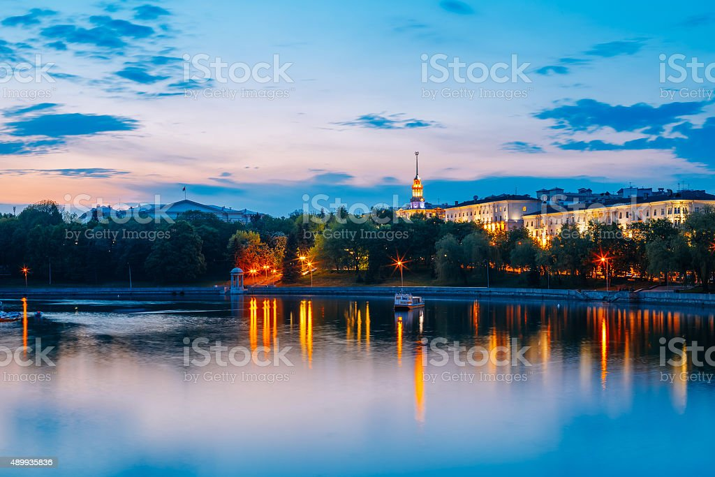 View on city's waterfront in Minsk, Belarus stock photo