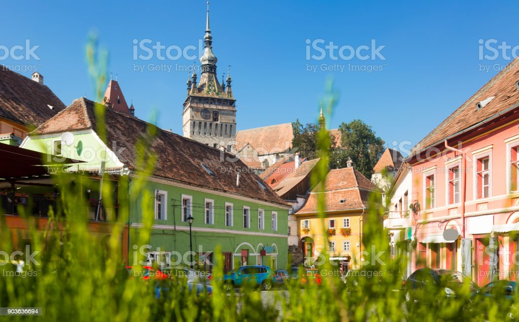View on Clock tower in Sighisoara stock photo