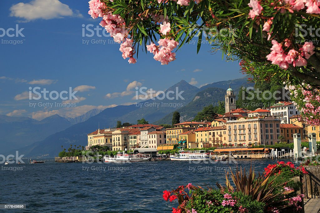 View on coast line of Bellagio on Lake Como, Italy stock photo