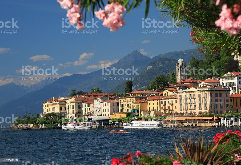 View on coast line of Bellagio village on Lake Como, Italy stock photo