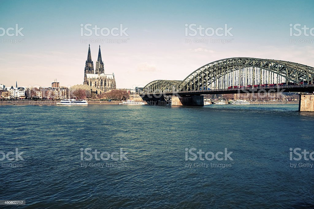 View on Cologne Cathedral and river Rhine royalty-free stock photo