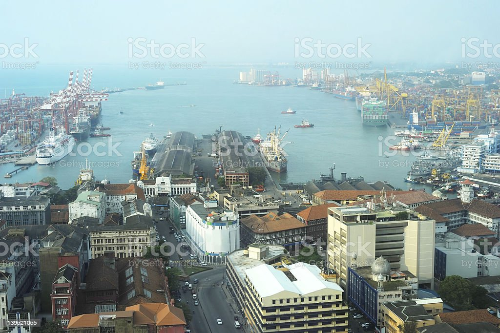 View on Colombo harbor stock photo