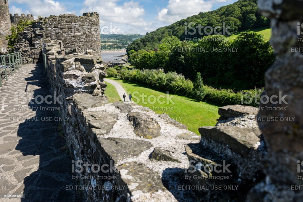 View on Conwy Castle and the Conwy bay place from the medieval walls stock photo