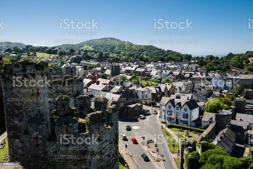 View on Conwy from the medieval castle stock photo